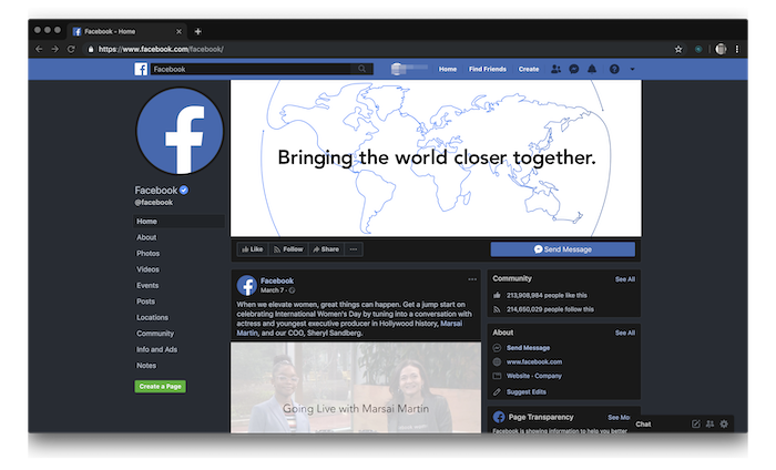 Facebook-home-dark-mode