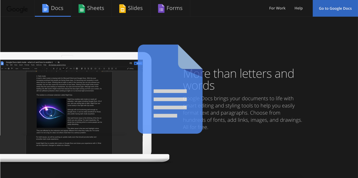 Google docs - how to enable dark mode and why is it superior