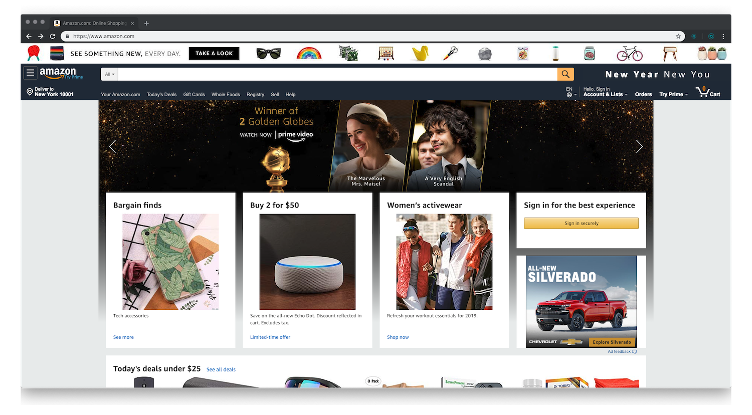 Amazon-home-page-normal-mode