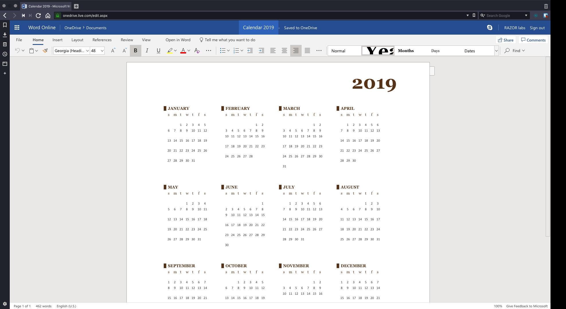 Calendar 2019 - Microsoft Word Online - Vivaldi 2019-01-14 12-53-32(1)