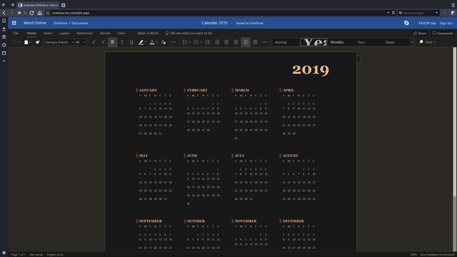 Calendar 2019.docx - Microsoft Word Online - Vivaldi 2019-01-14 12-57-04