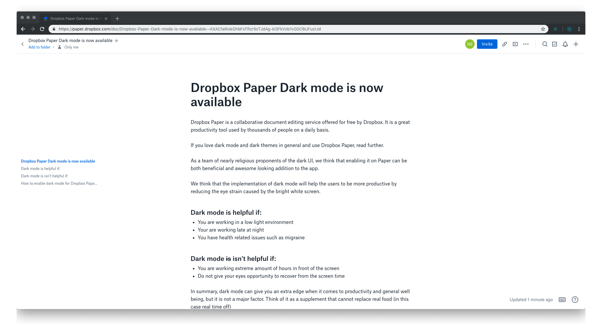 1. Dropbox Paper Dark mode is now available – Dropbox Paper 2019-02-06 16-35-01