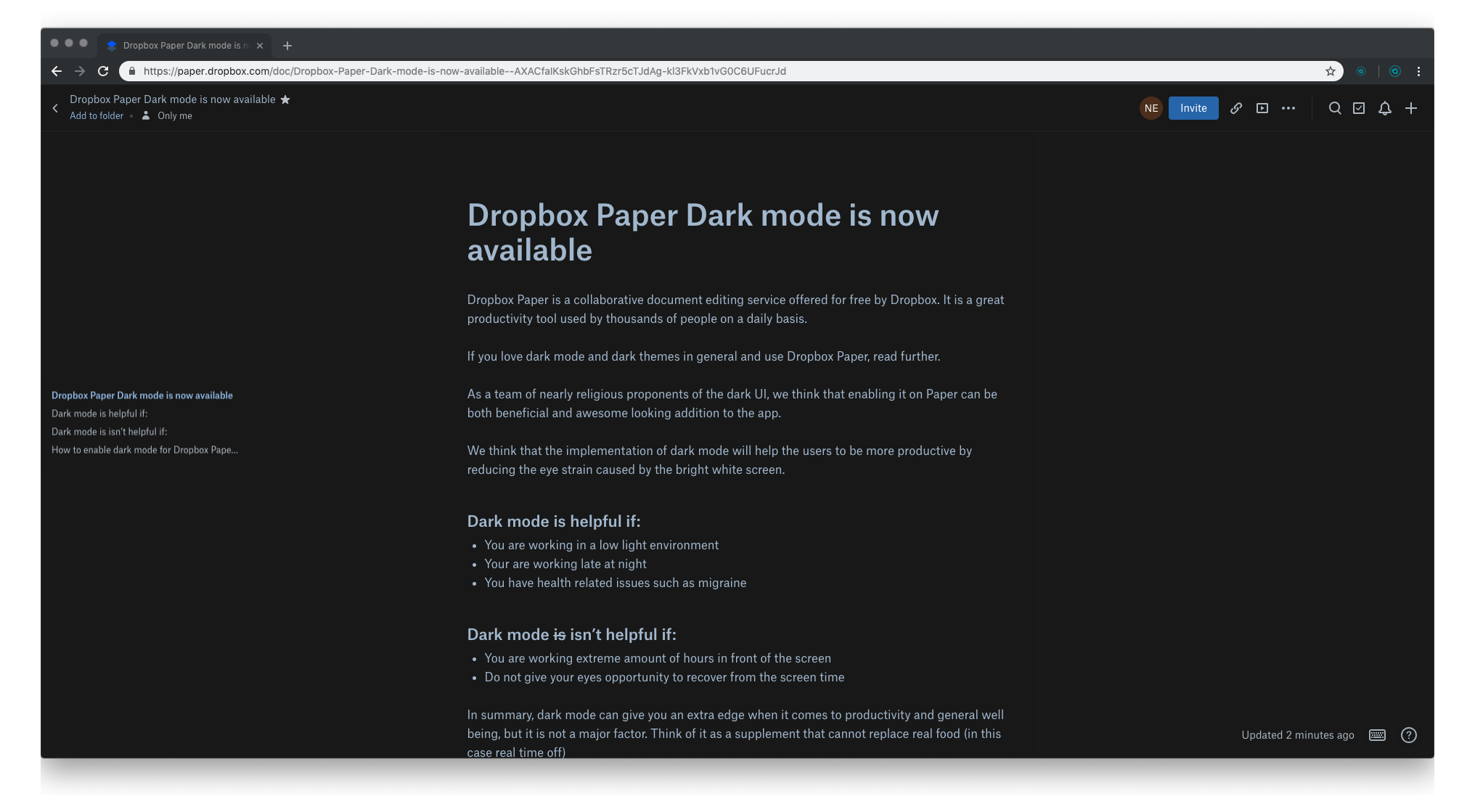 2. Dropbox Paper Dark mode is now available – Dropbox Paper 2019-02-06 16-35-19