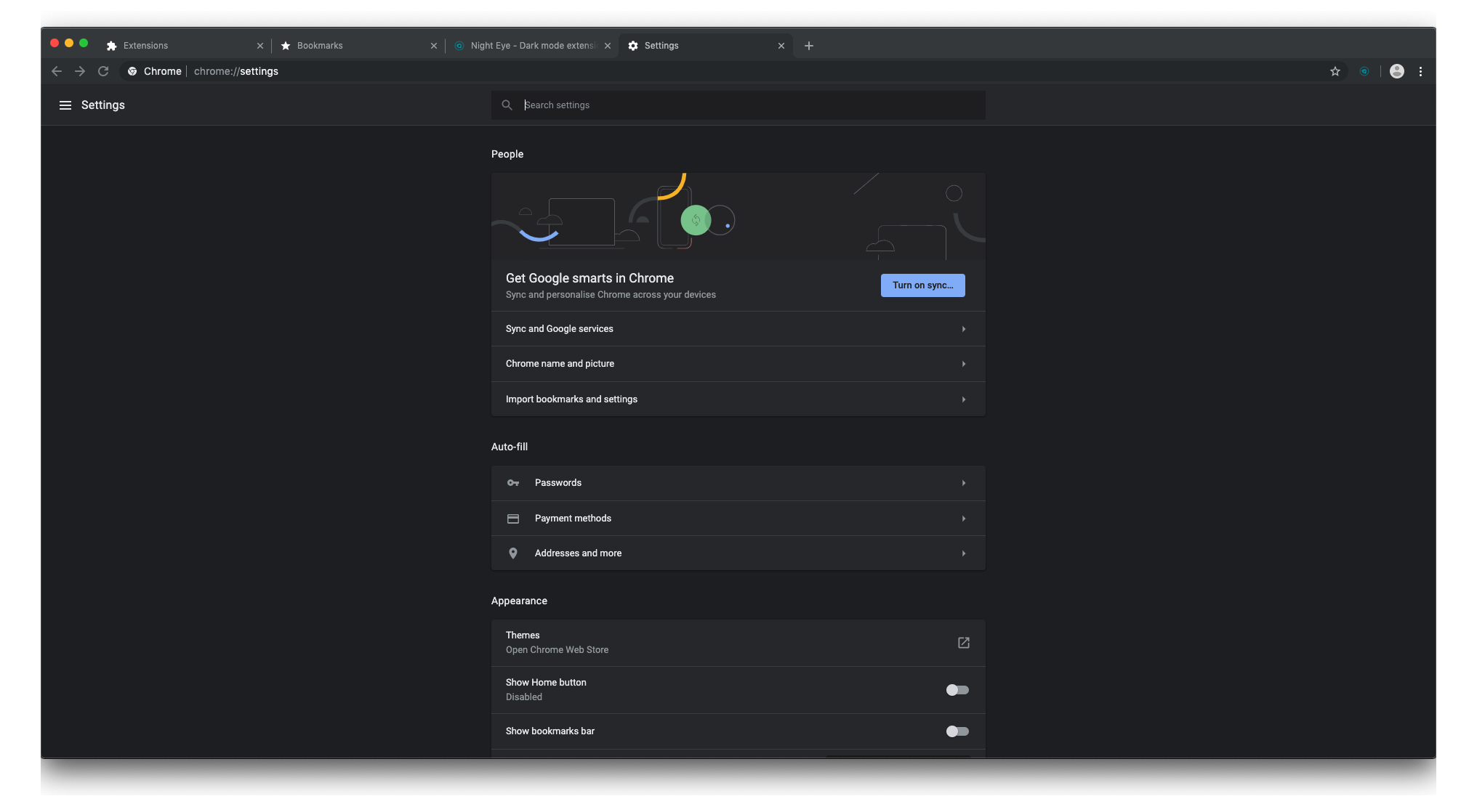 Google-Chrome-Canary-dark-mode-preview-settings